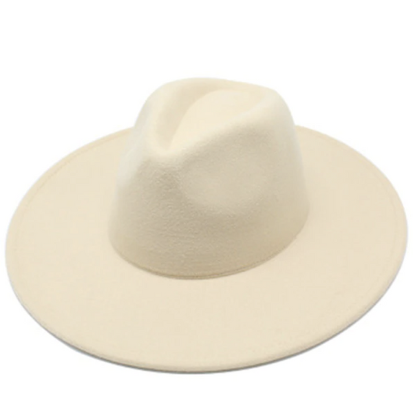 Cream Classic Wide Brim Fedora Hat
