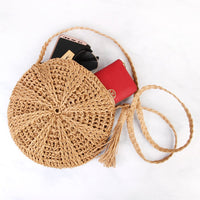 Simple Woven Round Crossbody Purse