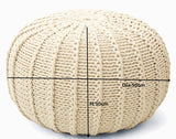 Cream Knitted Cable Style Pouf Ottoman