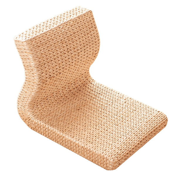 Handmade Straw and Rattan Floor Legless Chair