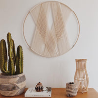 Gold Hoop Decorative Round Macrame Wall Hanging