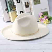 Vintage Gold Halo White Fedora Hat