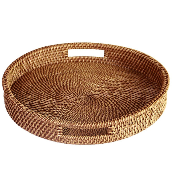 Natural Rattan Tray With Handle