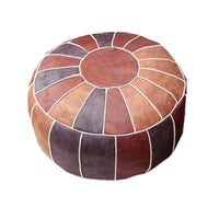 Hand Embroidered Faux Leather Pouf Ottoman