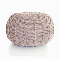 Khaki Knitted Cable Style Pouf Ottoman