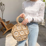 Camel Round Open Weave Bag