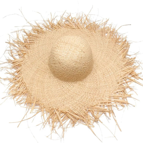 Wide Brim Straw Raffia Sun Hat