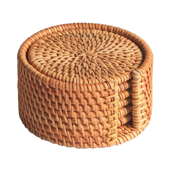 Round Rattan Drink Coaster Set (6 Pcs)
