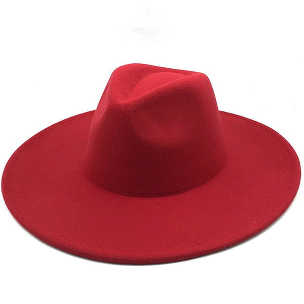 Red Classic Wide Brim Fedora Hat
