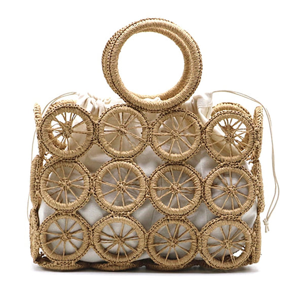 Camel Rectangle Open Weave Bag