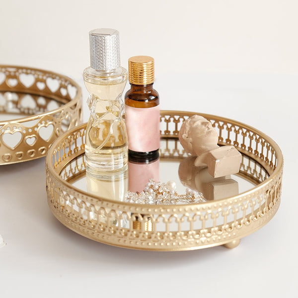 Gold Mirrored Jewelry Storage Tray