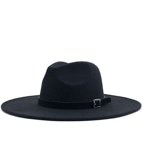 Black Black Belt Wide Brim Fedora Hat
