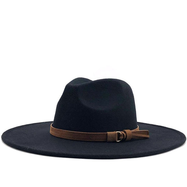 Black Brown Belt Wide Brim Fedora Hat