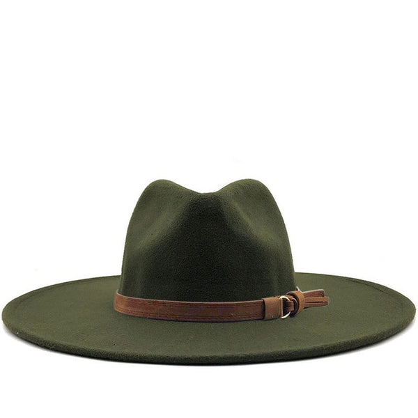 Olive Green Brown Belt Wide Brim Fedora Hat