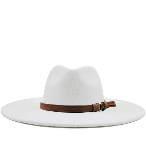 White Brown Belt Wide Brim Fedora Hat