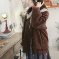 Embroidered Fleece Faux Fur Jacket