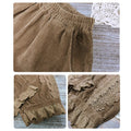 Cute Corduroy Bloomers With Lace Hem
