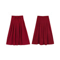 Red Midi Skirt With Big Bow - The Cottagecore