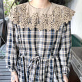 Embroidered Lace Collar Drawstring Dress