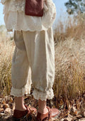 Cute Linen Embroidered Cropped Pants