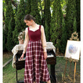 Cute Vintage Plaid Overall Dress Set