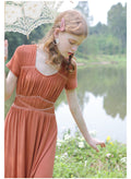 Pleated High Waist Vintage Dress - The Cottagecore