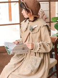 Cute Corduroy Coat With Lace Collar