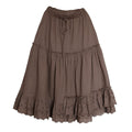 Linen Irregular Lace Hem Skirt