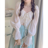 Fairycore Sweet Lace Up Shirt Top