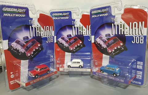 1/64 GREENLIGHT SET OF 3 MINI`S FROM THE 1969 MOVIE ITALIAN JOB  NEW ON CARDS