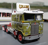 DCP / FIRST GEAR K100 KENWORTH COLLINS TRANSPORT WITH TRI AXLE TRAILER