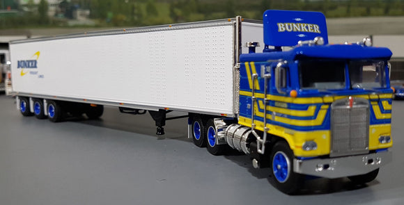 DCP / FIRST GEAR K100 KENWORTH BUNKER FREIGHT LINES WITH TRI AXLE TRAILER