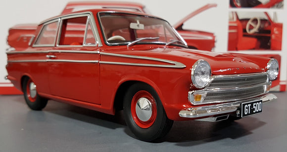 1/18  CLASSIC CARLECTABLE FORD CORTINA GT 500 SATIN RED