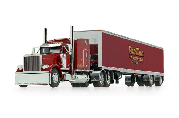 1/64 PETERBILT 379 PAC MAN TRANSPORT WITH SPREAD AXLE TRAILER
