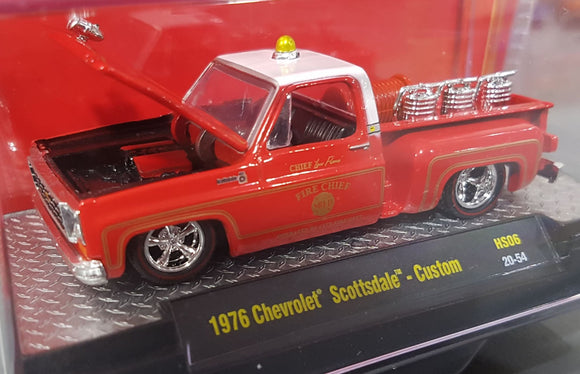 1/64 M2 MACHINE 1976 CHEVROLET SCOTTSDALE CUSTOM FIRE PICK UP LIMITED RUN NEW ON CARD