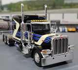 1/64 DCP / FIRST GEAR PETERBILT 389 BLACK TIME DC WITH CHEMICAL TANKER TRAILER