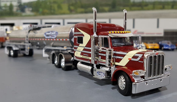 1/64 DCP / FIRST GEAR PETERBILT 389 RED TIME DC WITH CHEMICAL TANKER TRAILER