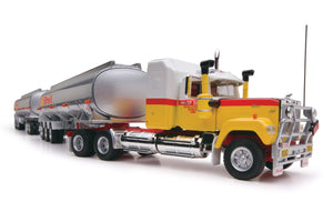 1/64 SCALE  HIGHWAY REPLICAS SHELL MACK SUPERLINER ROADTRAIN DOUBLE