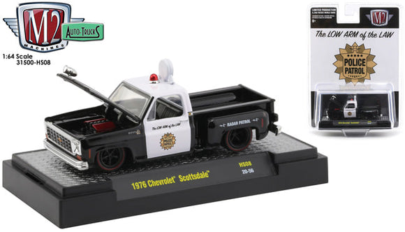 1/64 M2 MACHINE 1976 CHEVROLET SCOTTSDALE CUSTOM POLICE PICK UP LIMITED RUN NEW ON CARD