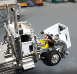 1/64 DCP / FIRST GEAR PETERBILT 389 WHITE WITH TRI AXLE PNEUMATIC TANKER TRAILER