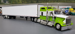 1/64 DCP / FIRST GEAR KENWORTH W900L LIME GREEN/BLACK  WITH DRY VAN TRAILER