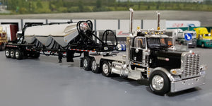 1/64 DCP / FIRST GEAR PETERBILT 389 BLACK WITH TRI AXLE PNEUMATIC TANKER TRAILER