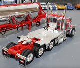 1/64 DCP / FIRST GEAR PETERBILT 389 RED WITH TRI AXLE PNEUMATIC TANKER TRAILER