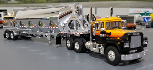 1/64 DCP / FIRST GEAR MACK R-MODEL BLACK/YELLOW WITH PNEUMATC TANKER TRAILER
