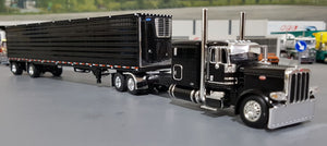 1/64 PETERBILT 389 BLACK WITH MATCHING SPREAD AXLE REFRIGERATED TRAILER