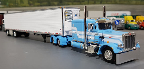 1/64 PETERBILT 359 BABY BLUE/WHITE WITH SPREAD AXLE REFRIGERATED TRAILER