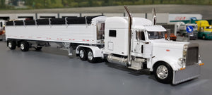 1/64 DCP / FIRST GEAR PETERBILT 389 WHITE & WHITE WITH SPREAD AXLE GRAIN TRAILER 60-0805