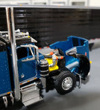 1/64 PETERBILT 359 TEAL/BLACK WITH SPREAD AXLE REFRIGERATED TRAILER