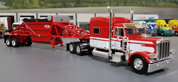 1/64 DCP / FIRST GEAR PETERBILT 389 RED & WHITE WITH BOTTOM DUMP TRAILER TRAILER 60-0797