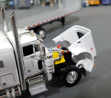 1/64 DCP  PETERBILT 379 WHITE TRI DRIVE WITH 7 AXLE FLAT TOP TRAILER 60-0807